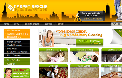 webdesign and development for Carpet Rescue New York