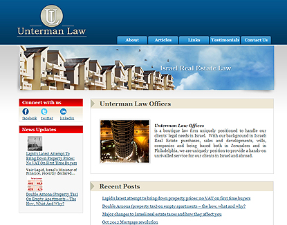 עיצוב ובניית אתר Unterman Law - Israel Real Estate Law