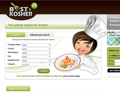 GUI design The search engine for Kosher - Best and Kosher