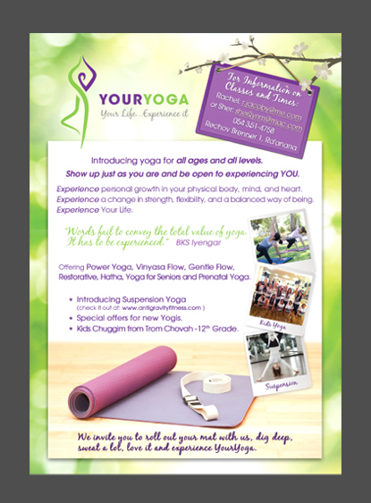 launching of yoga studio flyer design, youryoga.co.il